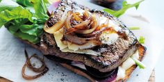 This looks so awesome but will leave out the devil's condiment, mayo. | Recipe: Mustard steak sandwich with caramelised cider onions