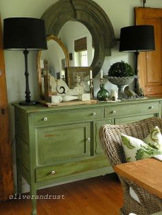 Dining Room with green buffet, black lamps and garden accessories - The Oliver and Rust House Tour 2013