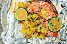 Foil Pack Salmon with Pineapple Salsa  - Delish.com Grilling Recipes, Fish Recipes, Seafood Recipes, Cooking Recipes, Campfire Recipes, Sauce Recipes, Grilling Tips, Steak Recipes, Diet