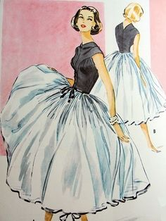 Cocktail dress design with a full skirted petticoat by Galanos for McCalls, 1950s.