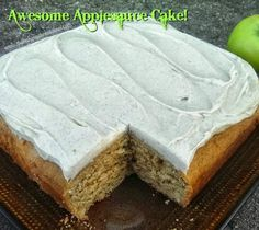 Awesome Applesauce Cake With Cinnamon Cream Cheese Frosting Recipe - (thebakingchocolatess) Applesauce Cake Recipe, Applesauce Bread, Apple Cinnamon Bread, Apple Dessert Recipes, Apple Recipes, Just Desserts, Delicious Desserts, Yummy Food, Mini Desserts
