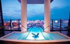 Hugh Hefner Sky Villa, Las Vegas (the pool hangs out over the building, dozens of stories up)
