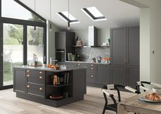 Woking shaker style replacement kitchen doors finished in Serica graphite Shaker Kitchen Doors, Shaker Style Kitchens, Replacement Kitchen Doors, Neoclassical, It Is Finished, Interior Design, Table, Graphite, Furniture
