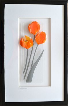 fused glass flowers framed
