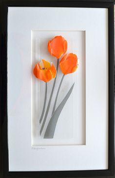 fused glass flowers framed