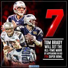 7th super bowl - sets record for Tom Brady