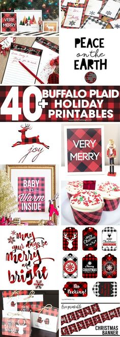A collection of 40+ Buffalo Check Plaid Free Printables to help you decorate, organize and more for the Christmas Holiday Season. #buffaloplaid #christmas #freeprintables