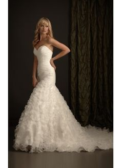 Amazing Sleeveless Organza Mermaid Chapel Train Strapless Wedding Dresses - Wedding Dresses