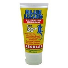 Blue Lizard Regular Suncream SPF 30+ 1.25 fl oz. by Blue Lizard. $2.99. Apply liberally 30 minutes before sun exposure and as needed. Contains micronized zinc oxide, which provides broad-spectrum protection. It is water resistant and contains 30+ SPF. With 3 chemical absorbers, which offer additional protection from UV rays. For children 6 months of age and older. Blue Lizard Regular Sunscreen has been developed using the finest UV rays blocking ingredients. It contains micro...