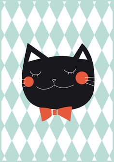 Black cat Pastel poster BALTHAZAR Minimalist by Buul on Etsy