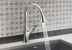BLANCO offers a wide range of kitchen faucets with hose, for installation in front of a window or other additional features. Modern Kitchen Lighting, Modern Dining Room, Best Faucet, Curved Kitchen, Kitchen Trends, Kitchen Faucet, Copper Kitchen, Modern, Living Design