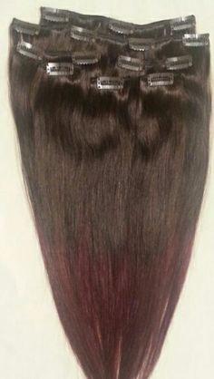 Clip-in Hair Extensions:  Farge:#T2/99J. Øvre del #2 (Darkest Brown) Nedre del #99J (99J Burgundy Red Wine)  Deler: 7Clips: 14Lengde: 45cmVekt: 80 gramKvalitet: 100% menneskehår.Bruksområde: Du kan krølle*, rette* og style det slik du ønsker.  *Bruker du varmeverktøy så må du huske varmebeskyttende!