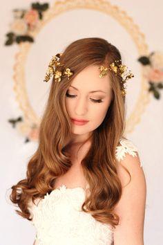 Gold or silver wrap flower crown, greek goddess, gold flower halo, gold hair vine, flower crown, bridal headpiece, wedding headpiece, modern by AnnaMarguerite on Etsy https://www.etsy.com/listing/157709195/gold-or-silver-wrap-flower-crown-greek
