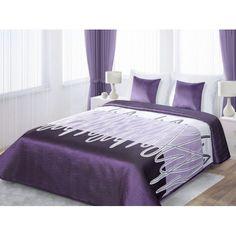 Fialovo biele obojstranné prikrývky na posteľ s motívom čiarok