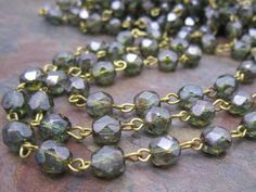 Beaded Rosary Faceted Ocean Green 6mm Czech by dreamgirlbeads