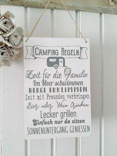 Deko-Objekte - Dekoschild Camping Regeln - ein Designerstück von Tres-Blanc bei DaWanda