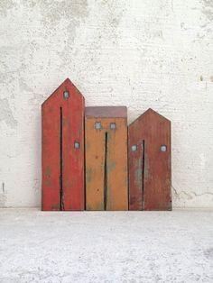 Satz von 3 recycelten Holz alt aussehen Häuser von VesnaGusmanArt