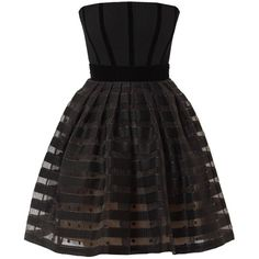 Victor Xenia London - Alexandrite Dress Black Stripes ($550) ❤ liked on Polyvore featuring dresses, corsette dress, textured dress, corset dress, striped dress and striped corset