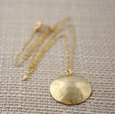 Gold Necklace Brass Hammered and Domed Disk on a 14k by true2u, $29.00