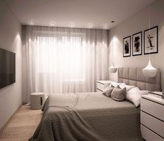 The interior of the bedroom in Khrushchev Master Bedroom Interior, Home Decor Bedroom, Bedroom Wall, Interior Design Living Room, Bedroom Ideas, Trendy Bedroom, Modern Bedroom, Bedroom Furniture Placement, Paint Colors For Living Room