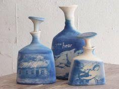 Cyanotypes on ceramic bottles Cyanotype Process, Sun Prints, Alternative Photography, Hand Built Pottery, Ceramic Techniques, Z Arts, Pottery Making, Clay Projects, Ceramic Art