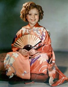Shirley Temple in a kimono given by the Japanese Envoy to the USA in 1937