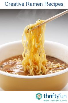 This page contains creative ramen recipes. Ramen can be elevated beyond the simple bowl of noodles and used in recipes. Livin thrifty.