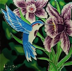"8"" X 8"" Unique Raised Tile Art with Stand By: Wayne Gao, Simply Titled ""Peaceful"" by Carromata Furniture. $22.95. Vivid Colors. Limited Quantity. Raised Lines. High Gloss Finish. Picture Stand and Hanger on the Back. This piece of Raise Tile Art by Wayne Gao, titled ""Peaceful"" is a one of kind portrait of a vividly colored humming birds among a garden of flowers. Each piece has been handcrafted. What makes this tile art more unique is lines in the artwork are raised wh..."