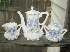 Ceramic Coffee Set White Ceramic With Violet Flowers And Gold Trim, Footed Set,  5 Piece Set, Heavy Ceramic Set, Beautiful Serving Set by junkblossoms2 on Etsy