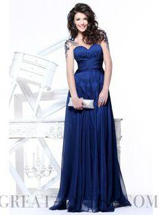 A-line Chiffon Sweetheart Empire Floor-Length Keyhole Back Short Sleeve  Prom Dress 9a315a8618de