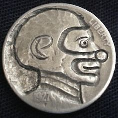 J. ALLEN HOBO NICKEL - CLOWN - 1927 BUFFALO PROFILE Hobo Nickel, Buffalo, Classic Style, Coins, Carving, Profile, User Profile, Rooms, Wood Carvings