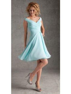 A Line V-Neck Chiffon Knee Length Bridesmaid Dresses - Bridesmaid Dresses - Wedding Party Dresses - CDdress.com…in sage…pretty