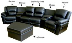 ... and family in these elegant and comfortable black leather theater seatsu003cliu003eSeven piece leather-match curved home theater sectional features 2 recliners ...  sc 1 st  Pinterest : theatre sectional seating - Sectionals, Sofas & Couches