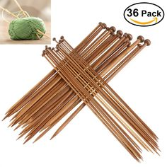 18pairs /36pcs Professional Carbonized Bamboo Single Pointed Needles Crochet Knitting Needles (2.0mm-10mm) Bamboo Knitting Needles, Knitting Needle Sets, Crochet Needles, Loom Knitting, Hand Knitting, Knitting Supplies, Knitting Projects, Knitting Ideas, Yarn Crafts