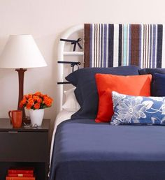 DIY Headboard Update - No-sew, no-tools-required update, easy and affordable way to revive a metal headboard. Diy Fabric Headboard, Cheap Diy Headboard, Diy Headboards, Headboard Ideas, Headboard Makeover, Brass Headboard, Iron Headboard, Headboard Cover, Upholstered Headboards