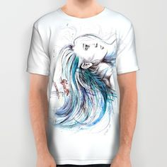 #alloverprint #tshirt #clothing #watercolor #aquatic #blue