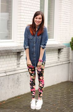 floral leggings and flatforms