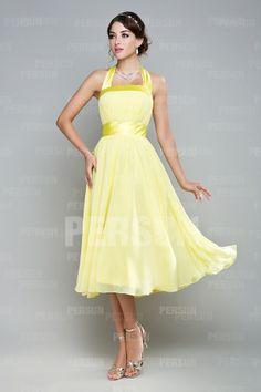Pretty A-line Halter Sleeveless Chiffon Knee Length Bridesmaid Dress