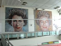 """The People's Monarch"" by Helen Marshall, seen at Gatwick Airport, London - The installation consists of two large photomosaics and was put together in celebration of Queen Elizabeth II's Diamond Jubilee in 2012. The BBC invited its viewers and listeners to contribute photographs for the project, and ultimately received 5,500 submissions."
