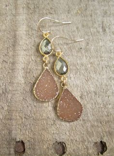 Pyrite Druzy Earrings Drusy Quartz Drops Gold by julianneblumlo