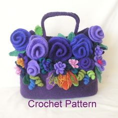 Crochet Bag Pattern, Felted Flower Bag Crochet Pattern Tutorial pdf, Instant Download by GraceKnittingPattern on Etsy https://www.etsy.com/listing/150876462/crochet-bag-pattern-felted-flower-bag