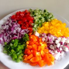 Rainbow salad- salad Shirazi. A Middle Eastern salad that's low in calories and carbs. The Vegetarian Atkins Diary