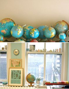 I love my globes! Maybe we can display these on top of the driftwood shelf in the kitchen!