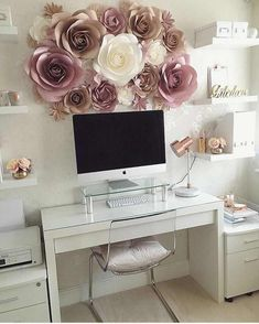 Paper Flower Decorations – Large Paper Flowers – Nursery Paper Flowers – Paper Flower Wall Decor – Paper Flower Wall – Nursery Wall Decor - Sites new Mesa Home Office, Home Office Space, Home Office Desks, Office Decor, Office Ideas, Small Office, Office Setup, Office Furniture, Apartment Office