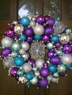 22 Peacok Blue Purple & Silver Ornament by megswreathsonawhim, $75.00
