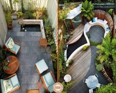 """We love to find ideas on how to creatively use small spaces, and these courtyards show how you can get a real WOW factor despite space limitations! Looking for courtyard inspiration? You might find it in our """"Courtyards"""" album on our site at http://theownerbuildernetwork.co/ideas-for-your-rooms/decks-and-verandas-gallery/courtyard/ Thumbs up to these two?"""