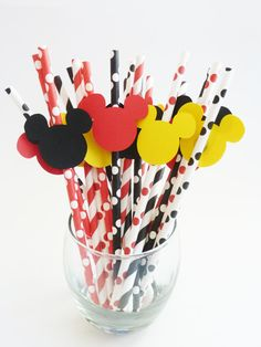 Mickey Mouse Straw Props 10 pcs Die Cut Disney Birthday Party Made to Order