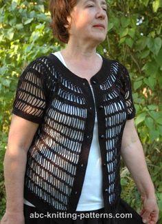 ABC Knitting Patterns - Sideways Chain Cardigan with Round Yoke. Crochet Lace Edging, Crochet Cardigan Pattern, Knit Crochet, Crochet Hats, Crochet T Shirts, Crochet Clothes, Knitting Patterns, Crochet Patterns, Crochet Woman