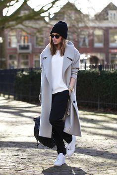Karen Walker Sunglasses, Topshop Coat, H&M Trousers, Nike Air Force 1 Sneakers - Air Force 1 - Christine R.