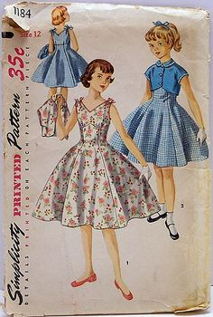 Simplicity 1184 Vintage 50's Sewing Pattern Girls One Piece Rockabilly Empire Flared Dress with Bolero Short Jacket UNCUT by Sassy By Design, via Flickr